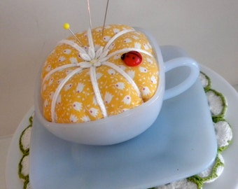 Upcycled Vintage Cup Pincushion