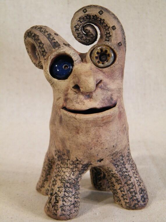 Friendly Creature. Whimsical ceramic sculpture
