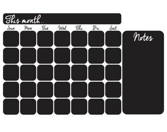 Black Matte Vinyl Chalkboard Calendar