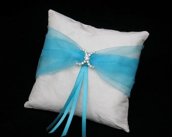 Ring Pillow Cusion Bearer Natural Silk - Organza and Strass Ornament