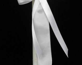 Candle Decoration Baptism Communion Christening Wedding Decoration - Satin Tie - Swarovski Crystal Cross