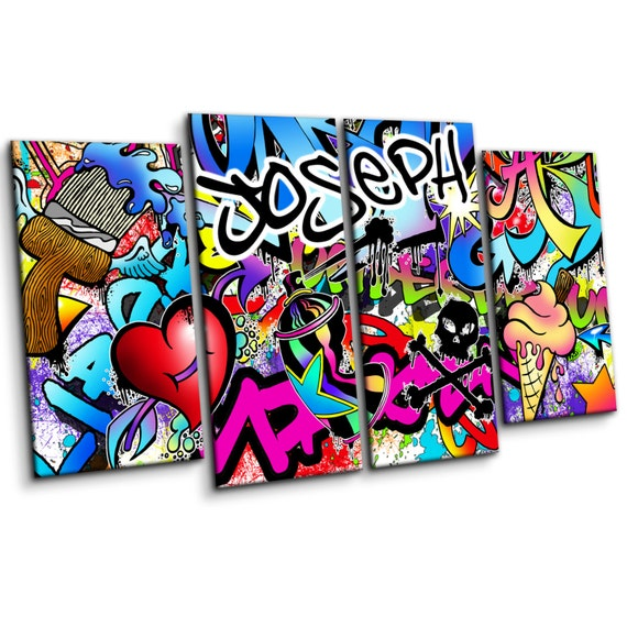 Personalised Graffiti Wall Art Canvas Print Large Four Piece