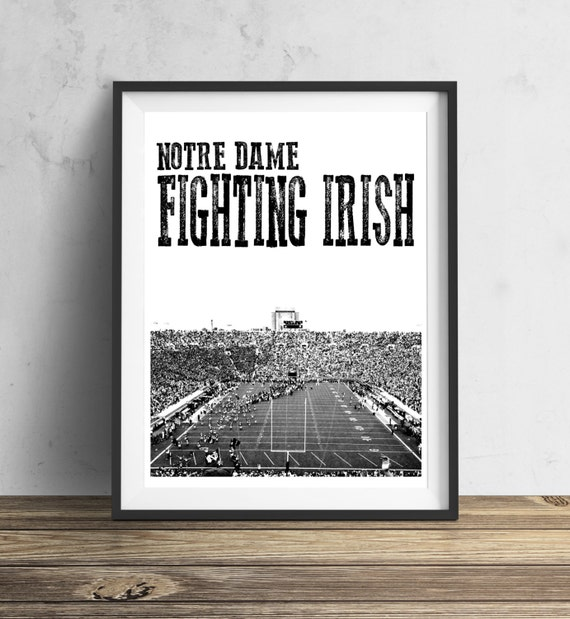 Items similar to notre dame fighting irish football for Notre dame home decor