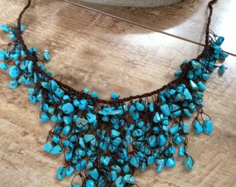 Handmade beaded turquoise necklace/ unique necklace/ metal free necklace/ metal free jewelry/