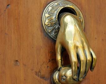 Door knocker, Wood door, Gold knocker, Hand, Barcelona, Spain, Fine art print, Wall art print, 8x10 - Gold hand