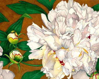 Watercolor painting...WEDDING DAY...peonies...giclee