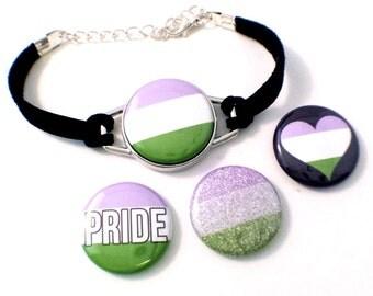 Genderqueer Pride Bracelet   Magnetic Bracelet    Genderqueer Pride Jewelry   Genderqueer Bracelet   Gender Queer Pride   MOGAI Jewelry