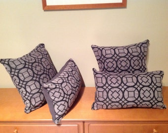Grey and black geometric cushion