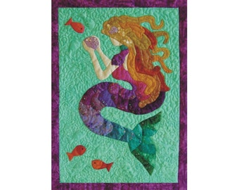 Mermaid Tails an appliqued and quilted wall hanging pattern.