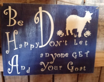 Primitive Wooden Goat Sign cute and funny