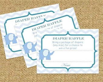 Blue elephant baby shower diaper raffle ticket - Instant Download