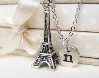 initial necklace, Eiffel tower necklace, Eiffel tower paris, travel to Paris, Eiffel lover gift, mother gift, kids