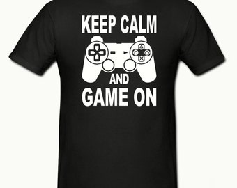 PS Keep calm & game on t shirt, boys t shirt sizes 5-15 years,childrens gamer t shirt