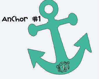 Anchor Vinyl Decal with or with out Monogram Size 5inX6in
