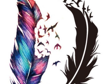 Feather tattoos - 2 coloured + 1 black