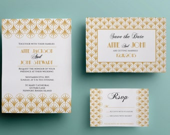 Art deco wedding invitation template, gold wedding invitation design, printable wedding invitation instant download premade gold gatsby 1920