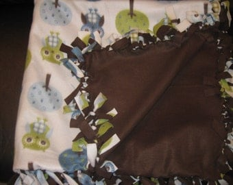 Brown, Green, and Cream Owl Fleece Tie Blanket