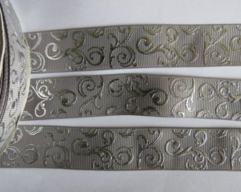 "2 Metres of 7/8"" Grossgrain Ribbon - Silver Swirls on Grey - for Craft"