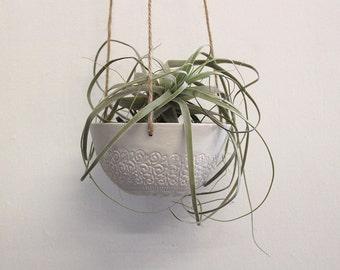 Vintage lace Porcelain hanging planter