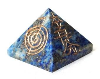 Lapis Lazuli Crystal Pyramid Engraved With Reiki Symbols