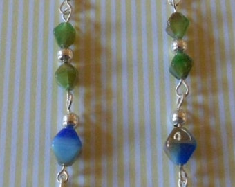 Hand made dangle earrings made with Czech glass beads
