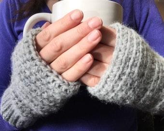 Crocheted Fingerless Mittens, Wool Blend