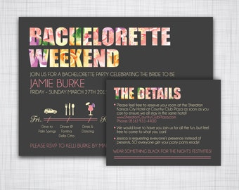 Details Card to match Bachelorette Invitation-- DIY Customizable Printable -- Insert Card Only