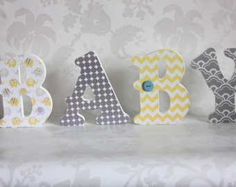 Baby yellow and grey Wooden Letters
