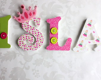 Custom Decorated Wooden letters, Princess Wooden Letters