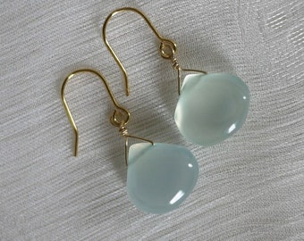 Cabochon aquamarine chalcedony drop earrings