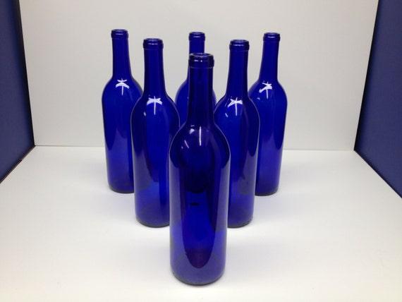6 cobalt blue bottles 750 ml for craftingweddingbottle for Decor 750ml