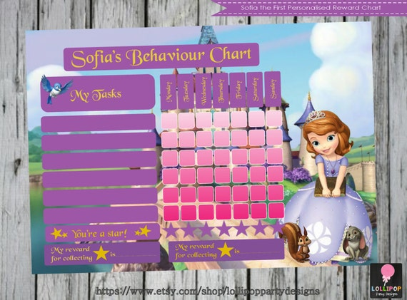 Sofia the First Personalised Reward Chart - Printable - Behavior Chart ...