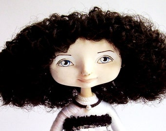 The souvenir interior doll Monochrome OOAK doll Handmade doll Collecting doll Art doll Cloth doll Curly doll Вrunette doll Dressed doll