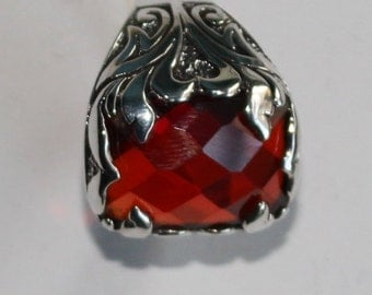 925 Sterling Silver Men Ring, Red Garnet Gemstone, Handmade