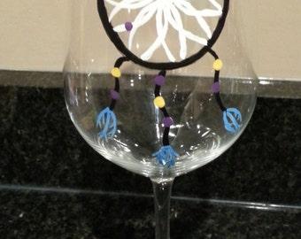 Dream Catcher Hand Painted Wine Glass