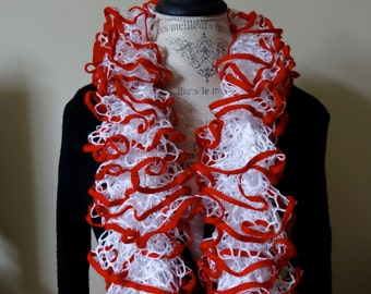 Handmade Ruffle Scarf in White with Red Trim