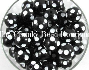 20mm black acrylic polka dot, 10 pieces