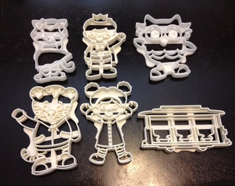 Daniel Tiger, O the Owl, Katerina Kittycat, Prince Wednesday, Miss Elaina, and Trolley Cookie Cutters. Great for Cookies, Play-Doh, Fondant