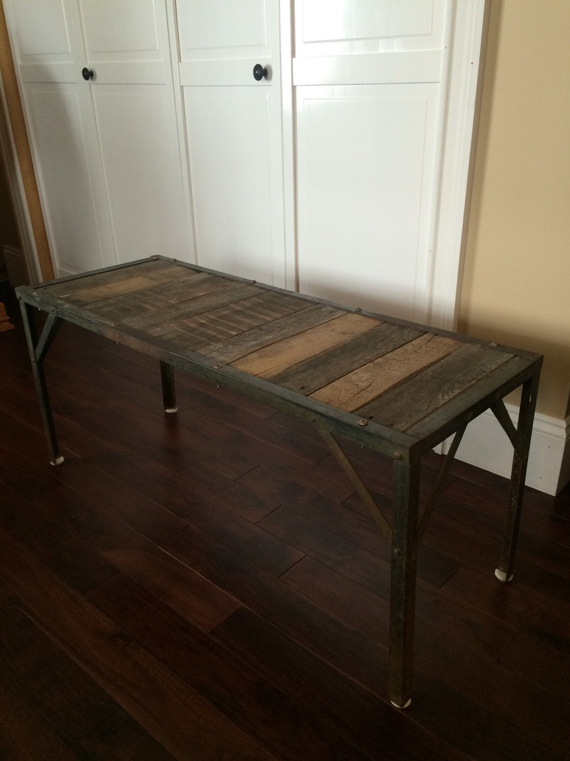 Rustic Pallet Wood Coffee Table Foot Of Bed Bench Metal Base