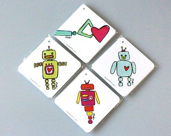 Hand Illustrated Gift Tags ROBOTS