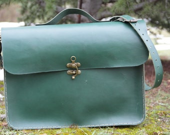 """Green leather laptop bag 15"""",macbook bag,leather briefcase"""