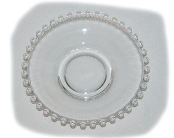 "Three Vintage Candlewick 5 1/2"" Glass Saucer Plates by Imperial"