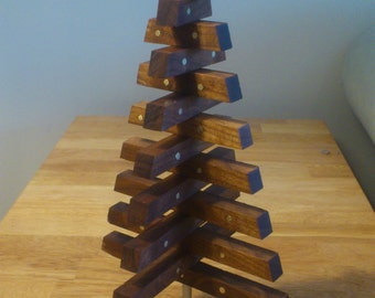 Solid wood decorative Christmas tree.