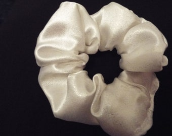 White satin hair scrunchie
