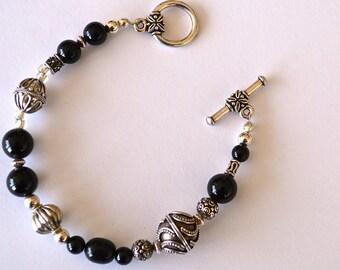 Black Onyx and Sterling Silver Bracelet