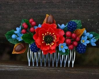 Bride Flower hair comb. Poppy hair comb. Poppy jewelry. Unique design Hair accessories. Poppy. Forget. Blackberry. Acorn. Kalina.