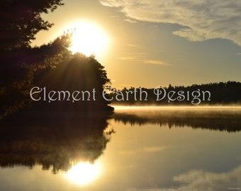 Misty Morning, Instant Download, 14x11, Sunrise Over the Water, Lake, Fine Art Digital Photo, Photography, Digitable Printable, landscape