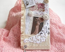 Unusual Collage Lace Collage Handmade Fabric Collage Vintage Shabby White Mixed Media Wall hanging Gift Collage art