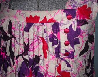 Vintage 1960s  dress, cotton, floral, sleeveless, batik