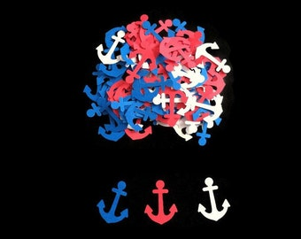 100 Assorted Red, White and Blue Anchor Confetti, Die Cut Anchors, Baby Shower Decor, Ahoy its a Boy Party, Nautical Décor, Nautical wedding